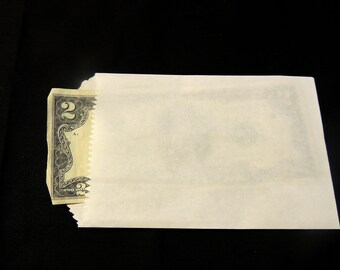 50 Mini White Kraft 3.25x5.25 inches Flat Paper Bags, Cute Plain 3 1/4 x 5 1/4 inch Kraft Goodie Paper Favor Bags, Small Kraft Gift Bags