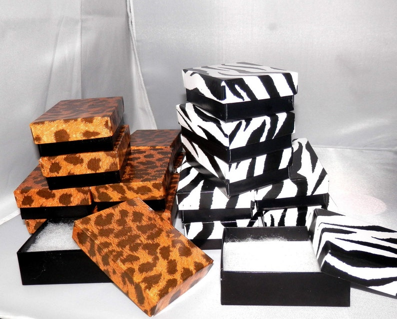 20 3.25x2.25 Leopard and Zebra Retail boxes Favor boxes Jewelry ...