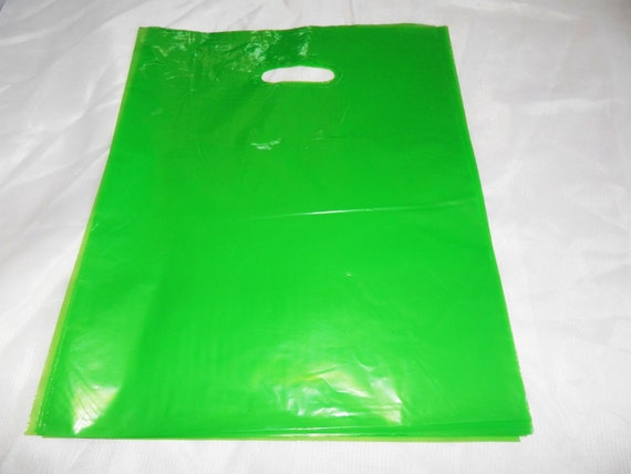 50 12x15 Glossy Lime Green Plastic Merchandise Bags w//Handles
