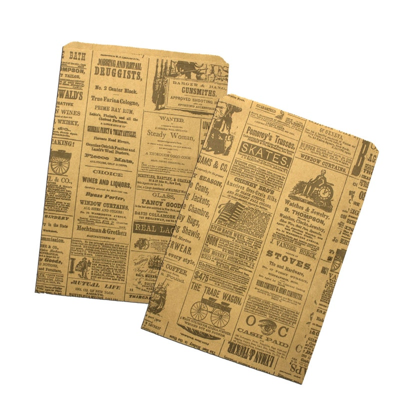 115bc923c3 100 6x9 Newspaper print Paper Craft Bags Vintage style