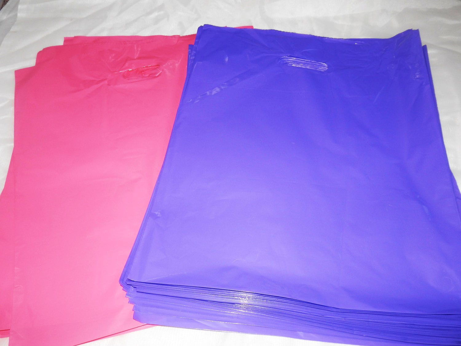 Details about  /100 12x15 Glossy Pink and Purple Plastic Merchandise Bags w//Handles