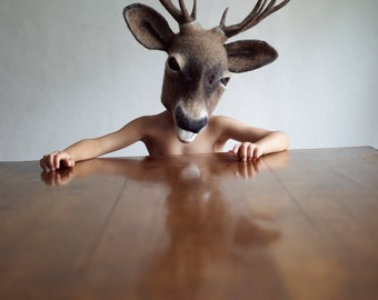 MADE TO ORDER: Hand felted 'Young Buck' headdress