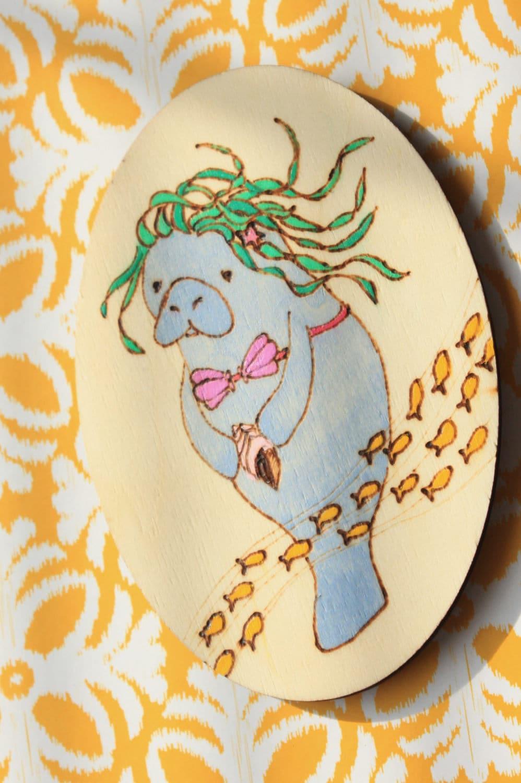 Manatee Mermaid manatee siren mermaid manatee wood burn | Etsy