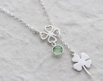Shamrock pendant etsy silver shamrock necklace four leaves pendant personalized choose custom stone sterling silver lariat clover charm monyart or design aloadofball Images
