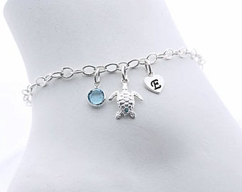 Sterling silver Turtle Bracelet. Personalized Custom charm Bracelet, Silver Bracelet, Long lasting Chain. Turtle Jewelry