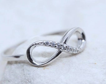 Infinity Ring, Sterling Silver Infinity Ring, silver infinity Ring with cubic Zirconia. Friendship ring, Engagement ring.