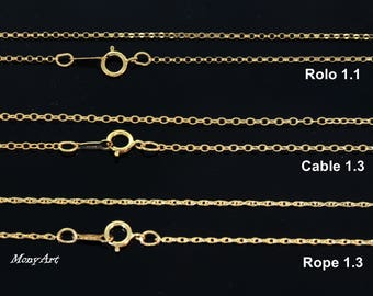 Gold Filled chain, Gold necklace chain. Select rollo Top chain, Cable Middle Chain, Rope Bottom chain. Gold filled cable chain