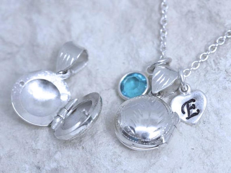Solid Sterling Silver round Locket Necklace Small Locket small Lockets Necklace Girls locket necklace R-5 Child Locket- Child Girl
