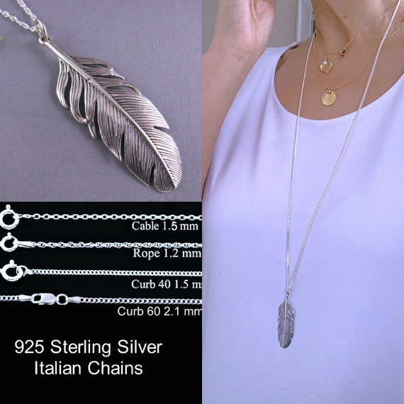 Sterling Chain Necklace Dainty Feather Necklace Lucifans Gift Unique Minimalist Silver Jewelry Sterling Silver Feather Wing Pendant