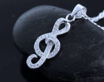 Sterling Silver Treble Clef Necklace . Musical Note Necklace, Treble Clef silver Jewelry. Music Teachers gift . music student gift