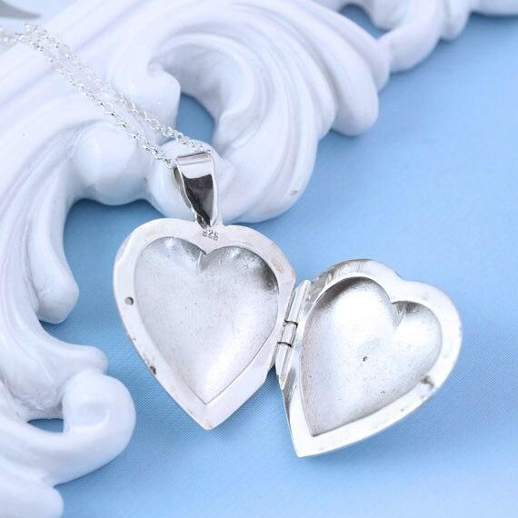 Genuine Sterling Silver 24mm Engraved Family Heart Locket Pendant Brand New Women