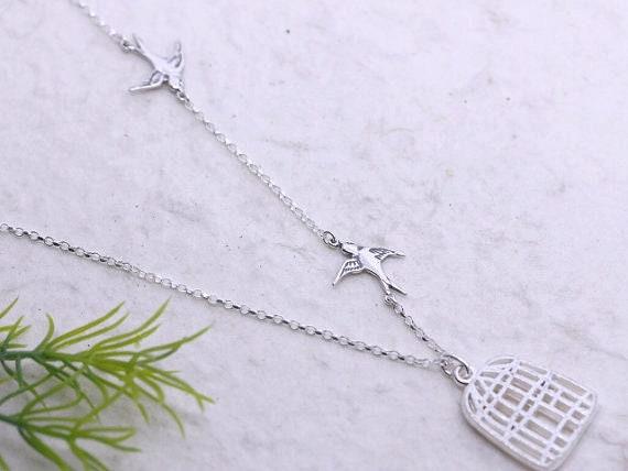 Graduation Gift Everyday Wear Sparrow Bird Necklace Bird Birthstone Charm Bird Necklace NECKLACE -14k Gold Filled Swallow Bird Necklace