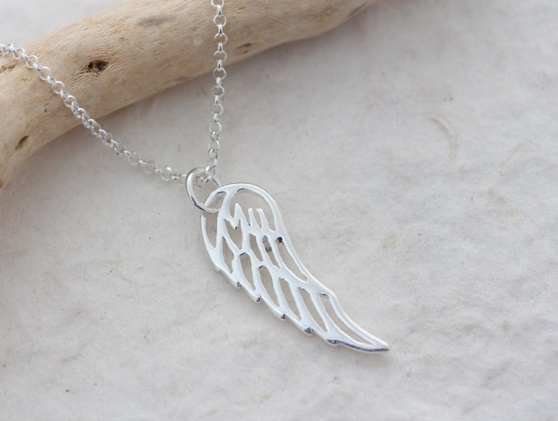 Sterling Silver Angel Wing Necklace Wing Necklace ALL image 0
