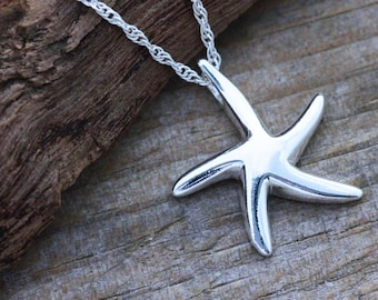 Starfish Necklace,  Sterling Silver Starfish Necklace - Charm, Pendant . Bridesmaid - bridesmaid . Beach Party, Ocean Theme, Nautical