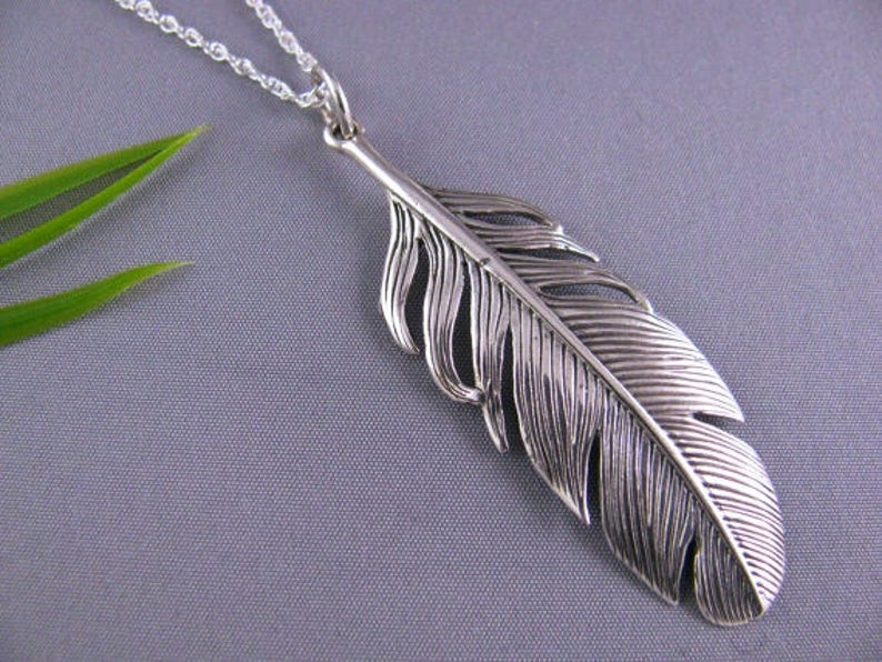 abec18d9242157 Feather Necklace Sterling Silver Feather necklace high | Etsy