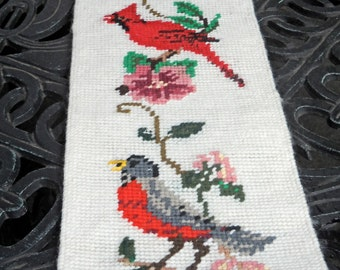 SPRING SALE--Vintage Needlepoint Bird Wall Hanging, Long, Six Birds, Beautiful