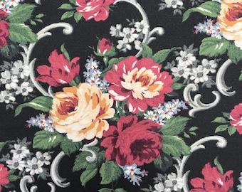 Retro Upholstery Fabric Cabbage Rose Design Etsy