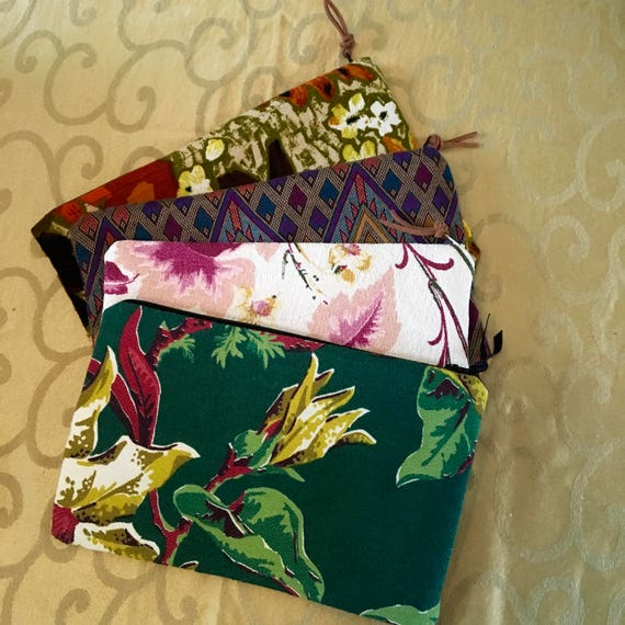 Many Uses Vintage Barkcloth Zip Bags Two Available Handy Zip Bags Knitting Needle Keeper Selling Separately