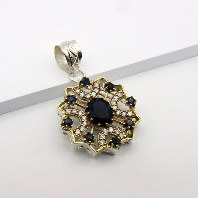 Turkish Handmade  Authentic Ottoman Sapphire And Cubic Zirconia Gemstone Vintage Style Pendant Size  1 78 T863