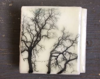 Encaustic Painting - Original Art - Photo Image Transfer - Recycled Wood Panel -  Beeswax - Small Painting