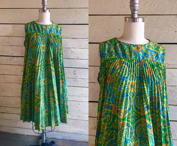 60s mod green paisley pleated A-line dress - circl