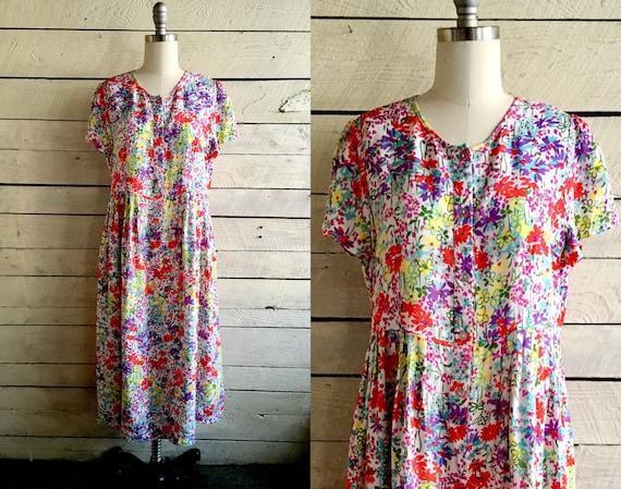 floral rayon loose dress - short sleeves - front b