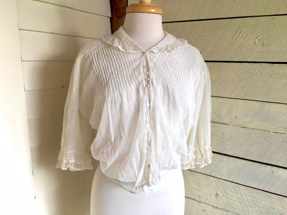 White Edwardian blouse - sheer fabric - 1900s - la