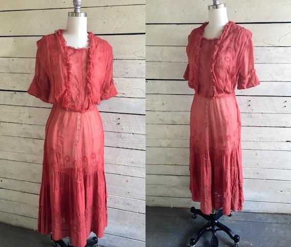 Red Edwardian sheer lawn dress - antique dress - 1