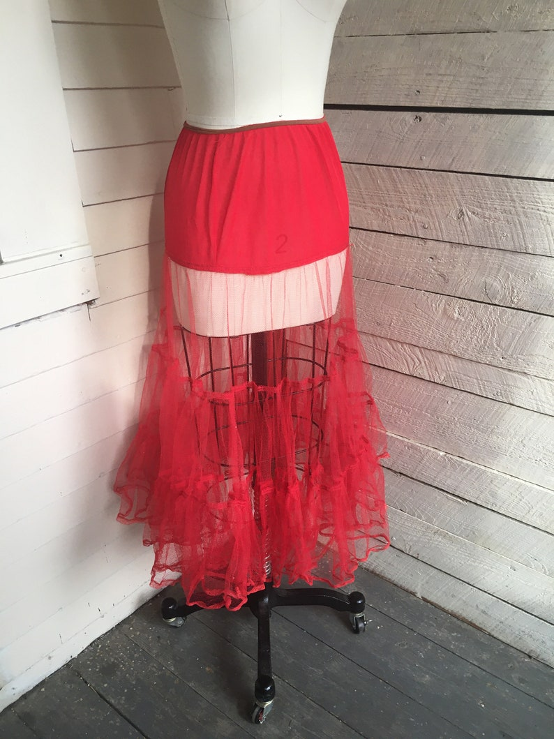 Rockabilly Vintage Half Slip Red Crinoline Slip 50s 3 Tiers Halloween Costume