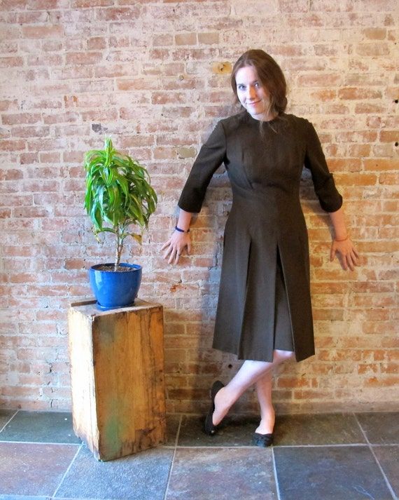 Vintage Brown Wool Dress - Early 60s - Amish Hipst