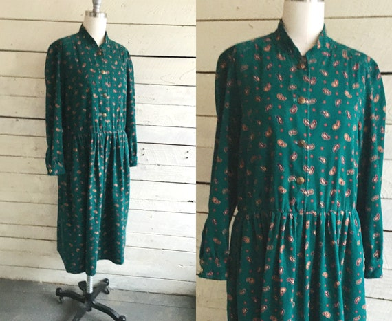 80s prairie  greens paisley brushed cotton dress -
