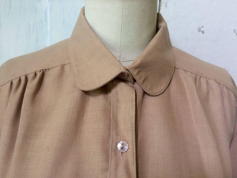 button down 60s tan blouse long sleeve collar