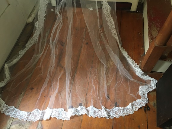 Wedding Cathedral Veil - Lace Veil - Long Veil - H