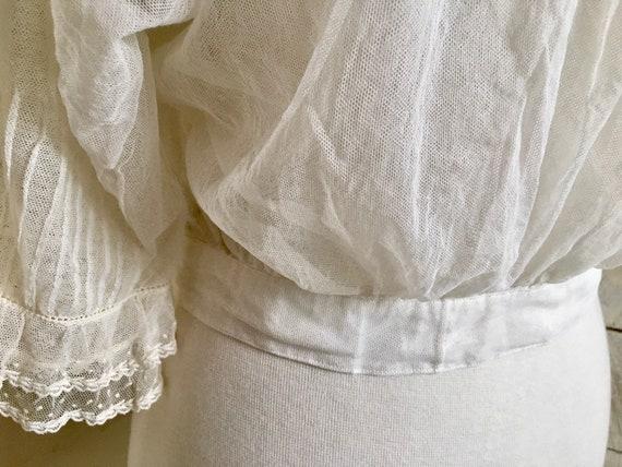 White Edwardian blouse - sheer fabric - 1900s - l… - image 5
