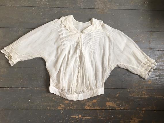White Edwardian blouse - sheer fabric - 1900s - l… - image 2