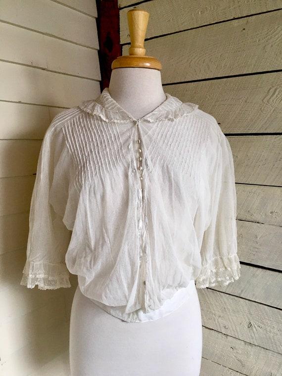 White Edwardian blouse - sheer fabric - 1900s - l… - image 7