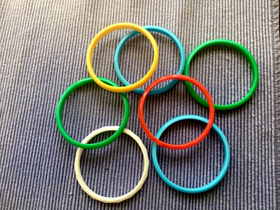 Colorful Plastic Bangles - 7 Bangles - Plastic Bra