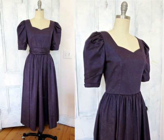 Laura Ashley Purple Sateen Dress   Bridesmaid Dress   Silver Glitter Floral Design   Formal   Cross V Back   Party Dress by Etsy