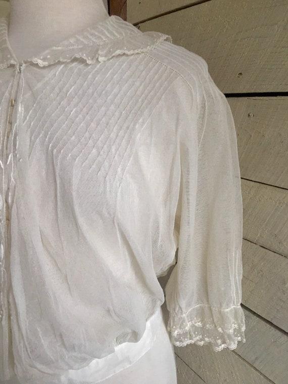 White Edwardian blouse - sheer fabric - 1900s - l… - image 6