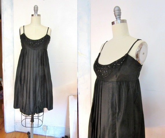 Silk Little Black Dress Black Beads Empire Waist Black Etsy