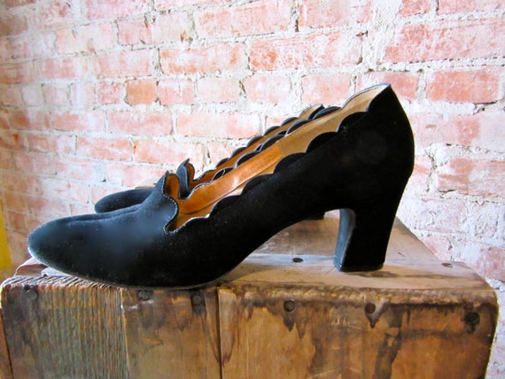 1940s Black Suede Shoes -