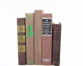 Aged Umber Brown Books, Antique Decorative Books, Old Chocolate Book Decor, WEdding Centerpiece, Rustic Book Set, Book Collection