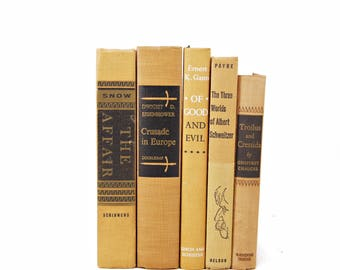 Saffron Decorative Books, Yellow Brown Book Decor Wedding Centerpiece, Shabby Chic Old Books, Instant Library, Interior Design,  Book Set