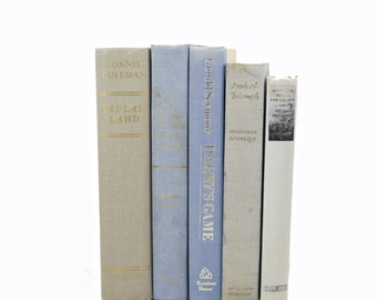 Pastel Gray BLue BOoks, Rustic Old Grey  Decorative Books, Instant LIbrary, Shabby Chic Book Decor, BOok Collection, Wedding Decor, Book set