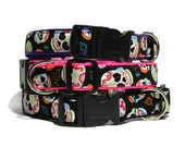 Sugar Skull Dog Collar - Nylon Custom 1 quot Dog Collar with Color Options