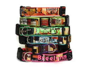 Personalized Whiskey Dog Collar = Whiskey Bottles Dog Collar