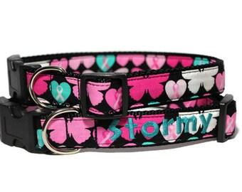Breast Cancer Awareness Ribbon Dog Collar - Personalized Breast Cancer Dog Collar