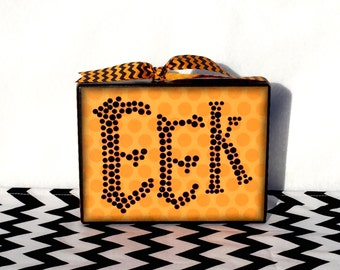 Orange Halloween Rhinestone eek sign