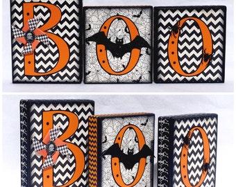 Orange & Black Chevron BOO blocks