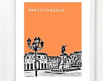 Santo Domingo Poster - Dominican Republic City Skyline Art Print - Zona Colonial